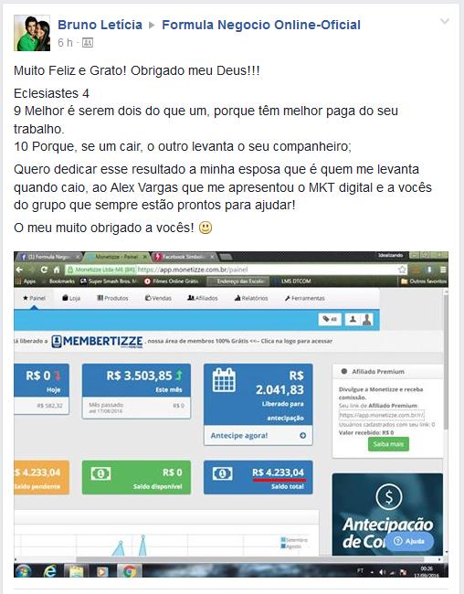 Depoimento do Bruno Sobre o Formula negocio online 2.0